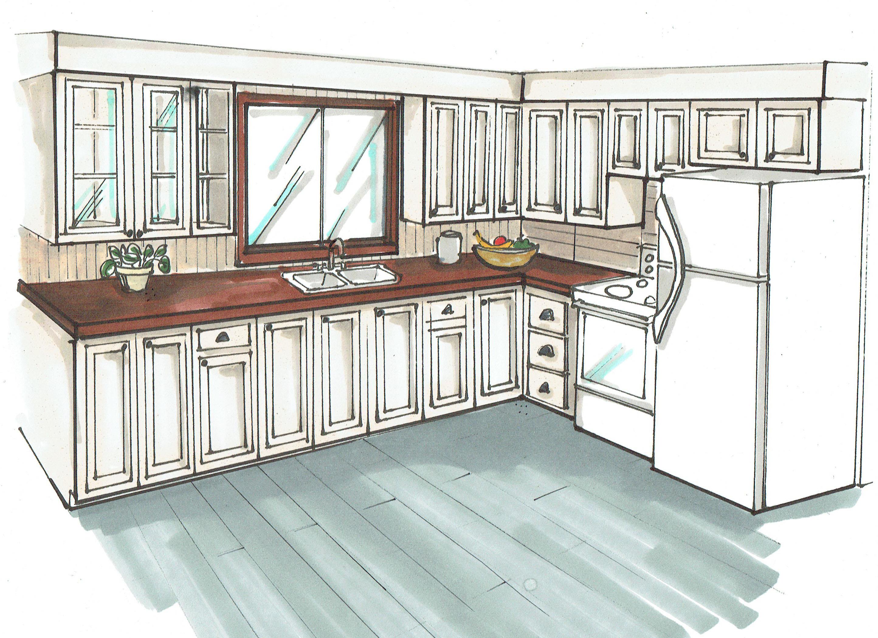 perspective cuisine with dessiner en perspective une cuisine with dessin cuisine perspective. Black Bedroom Furniture Sets. Home Design Ideas