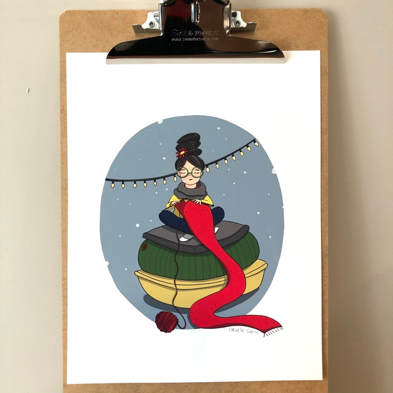 Isabelle Sirois illustrations_La fille qui tricote_1